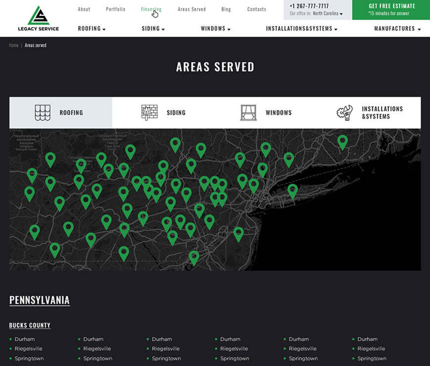 areas served page example