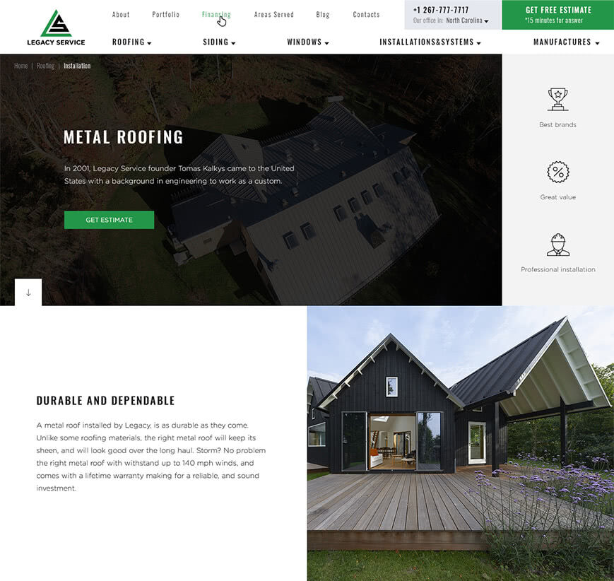 metal roofing page example